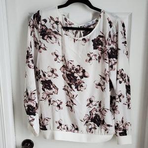 Dex long sleeve floral print blouse open back